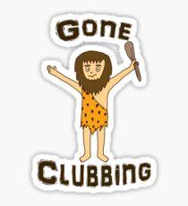 Gone Clubbing Funny Caveman Cartoon Design Sticker