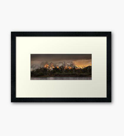 Sunrise in Torres del Paine Framed Print