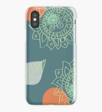 Terra Cotta Orange and Teal Henna Tattoo Flower Design iPhone Case/Skin