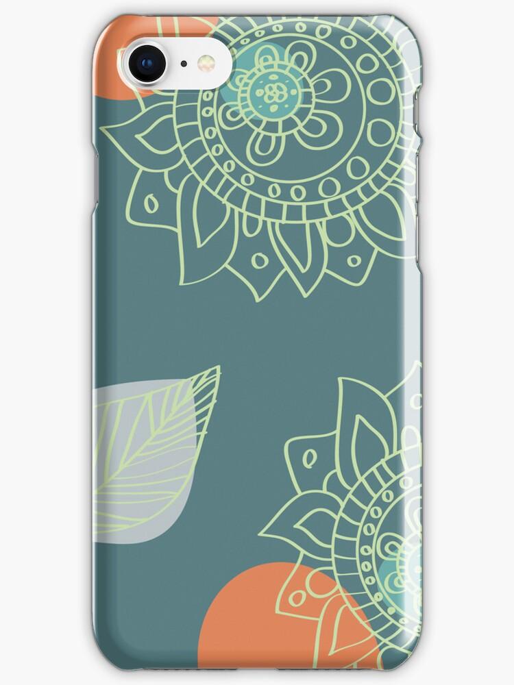 Terra Cotta Orange and Teal Henna Tattoo Flower Design by rozine