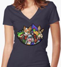 STAR FOX FLEET Women's Fitted V-Neck T-Shirt