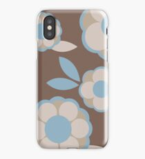 Blue and Brown Retro Wallpaper Flower Pattern iPhone Case