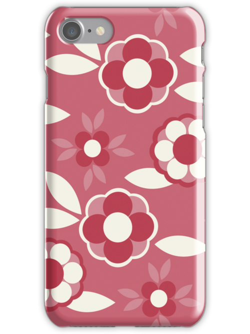 Hot Pink, Red and White Retro Wallpaper Flower Pattern by rozine