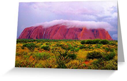 Mighty Uluru Under Storm Cloud by Ronald Rockman