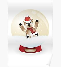 Snow globe with teddy Poster