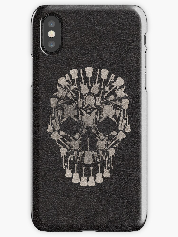 Faux Black Leather with Musical Skull Design by ArtformDesigns