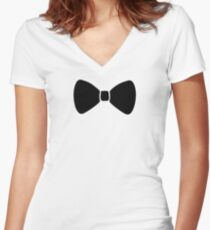 Black Bow Women's Fitted V-Neck T-Shirt