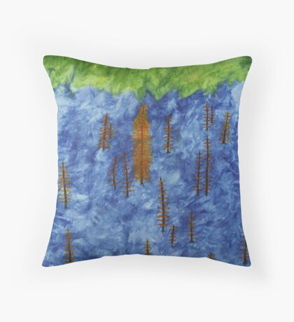 Ash Tree's in a Tossed World Throw Pillow