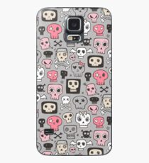 Skulls in Pink on Grey Case/Skin for Samsung Galaxy