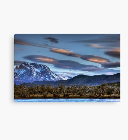 UFOs over the mountains Canvas Print