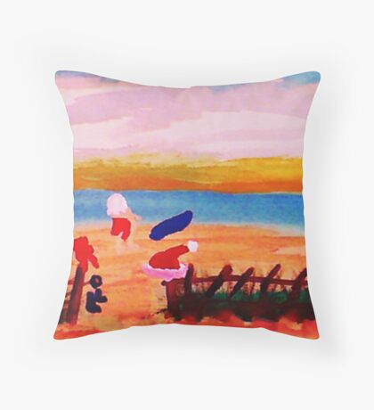 Santa's taking time to surf in San Diego, watercolor Throw Pillow