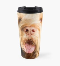 Orange and White Italian Spinone Dog Head Shot Travel Mug