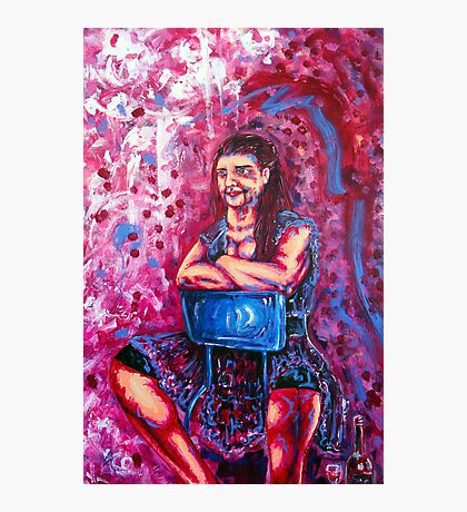 Pink Lady with a Glass of Wine Photographic Print