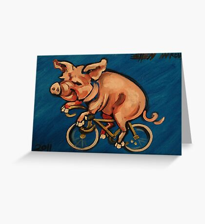 Pig on a Bicycle Greeting Card