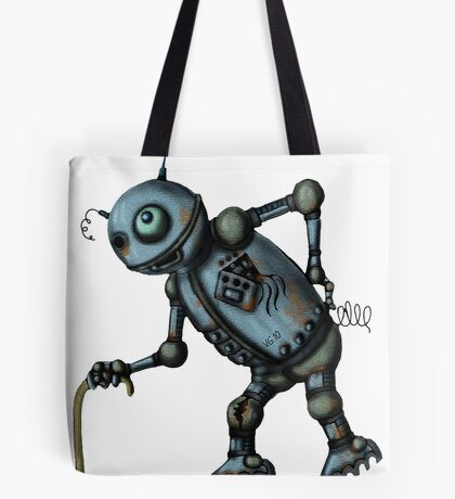 Funny Old Robot cartoon drawing art Tote Bag