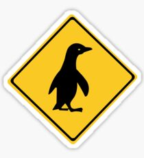 Attention Penguins, Traffic Sign, New Zealand Sticker