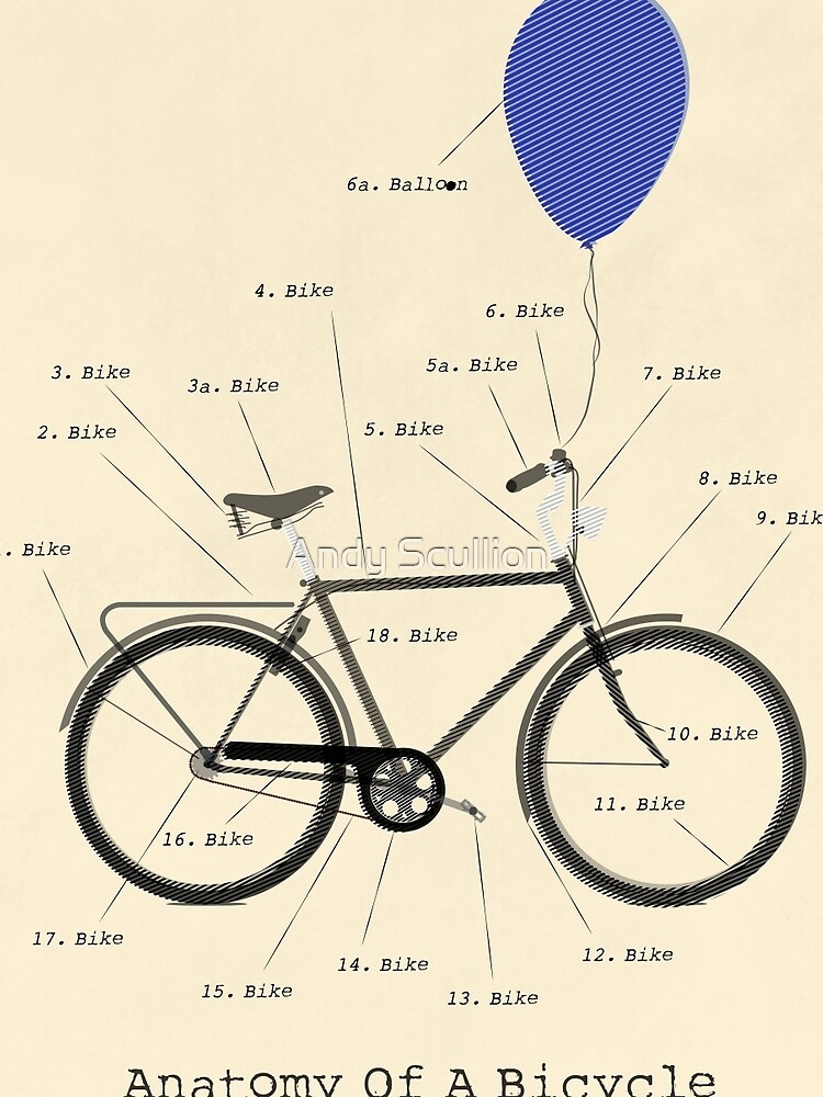 Anatomy Of A Bicycle Graphic T Shirt By Andyscullion Redbubble