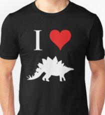 I Love Dinosaurs - Stegosaurus (white design) Unisex T-Shirt