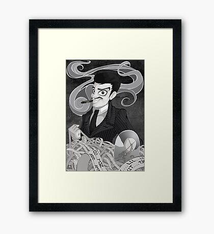 Gomez Addams- Black and White version Framed Print