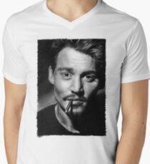 Johnny  Depp pencil drawing Men's V-Neck T-Shirt