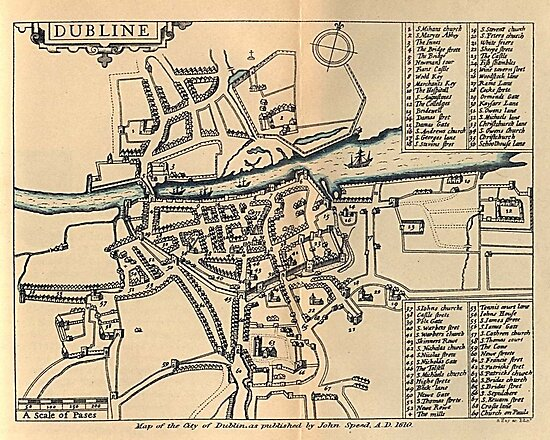 Quot Vintage Map Of Dublin Ireland 1610 Quot Posters By