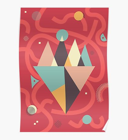 Mountains Floating in a Busy Space Poster