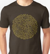 Hide The Spill - Brown and Yellow MTB Pedals Unisex T-Shirt