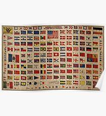 Historische Flaggen der Welt (1869) Poster