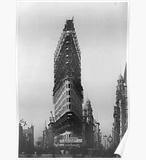 Póster Old NYC Flat Iron Building Construction Photograph