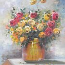 Natureza Morta - Jarro de Rosas -  Óleo sobre tele / Still Life - Pitcher of Roses - oil on canvas by PedroAtanasio