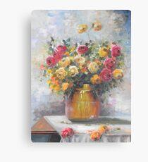 Natureza Morta - Jarro de Rosas -  Óleo sobre tele / Still Life - Pitcher of Roses - oil on canvas Canvas Print