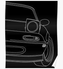 miata outline - white Poster