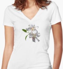 Two White Lilies Women's Fitted V-Neck T-Shirt