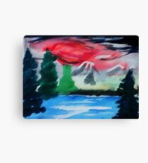 Red stormy sky, watercolor Canvas Print