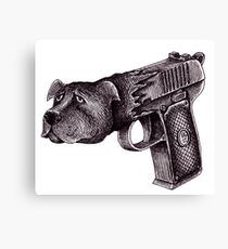 Pit Bull Gun surreal black and white pen ink drawing  Canvas Print
