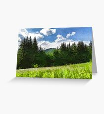Impressions of Mountains and Meadows and Trees Greeting Card