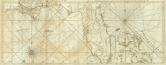 Vintage Map of Florida and The Bahamas (1776)\