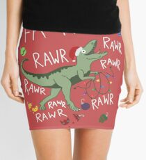 T-Rex Christmas Dinosaur - Dinosaur Christmas Mini Skirt