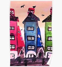 City scape, watercolor Poster