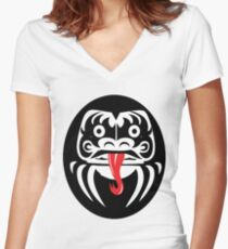 Hardcore Daruma Women's Fitted V-Neck T-Shirt