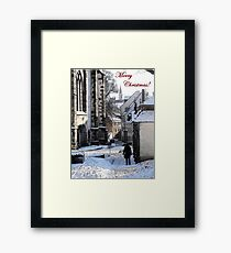 Christmas Card - Snow in Town Framed Print