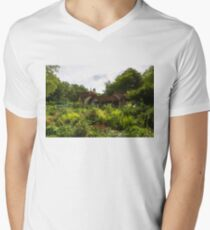 English Cottage Gardens - Summer Green in Watercolor T-Shirt