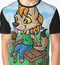 Summertime Treat - Coyote with Ice Cream Graphic T-Shirt