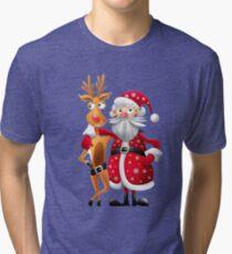 Santa and Rudolph deer Tri-blend T-Shirt