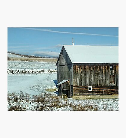 The old barn in the snow Photographic Print