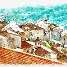 Rocca Cilento view roofs of country by Giuseppe Cocco