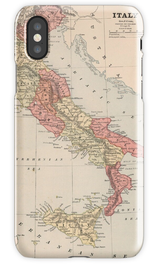 how to store photos from iphone quot vintage map of italy 1883 quot iphone cases amp skins by 1883