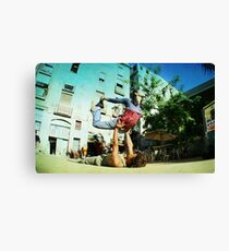 Acroyoga in the streets of Barcelona  Canvas Print