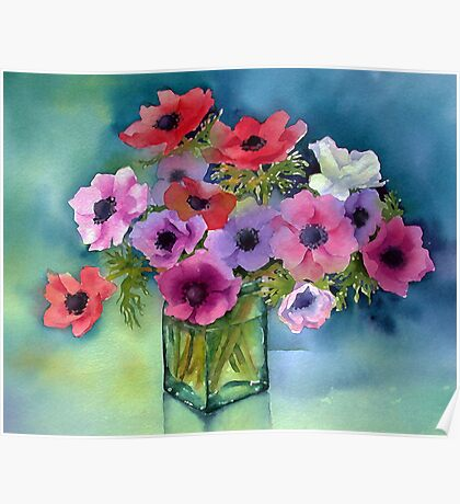 Anemones in a green vase Poster