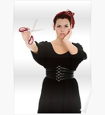 Modern girl with scissors Poster